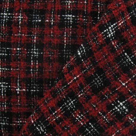 Tweed Vichy fabric - red and black x 10cm