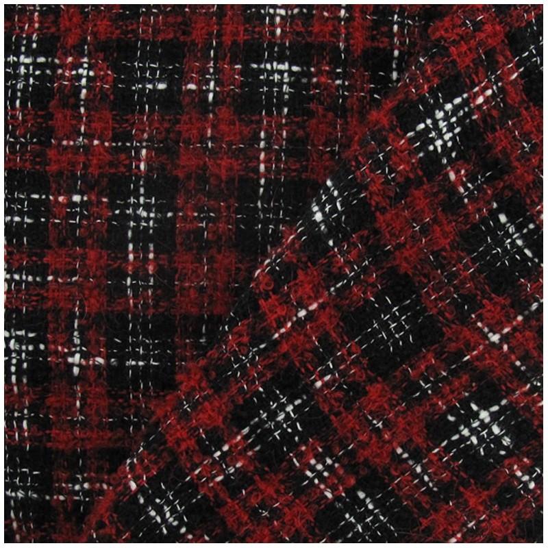 Tissus pas cher tissu tweed vichy rouge et noir - Tissus rouge pas cher ...