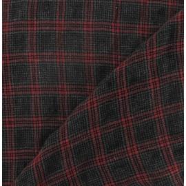Tissu lainage léger écossais rouge gris x 10cm