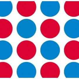 Tissu toile cirée Dots rouge et bleu x 12cm