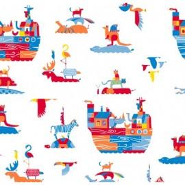 Tissu toile cirée Arche de Noé x 10cm