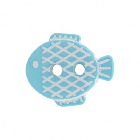 Bouton Petit poisson bleu ciel
