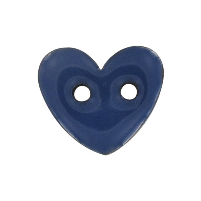 Coconut Button, heart-shaped & painted - blue - Ma Petite Mercerie