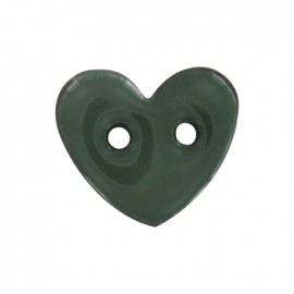 Coconut Button, heart-shaped & painted - green