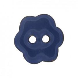 Bouton Fleur Coco peint bleu