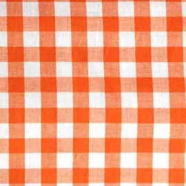 ♥ Coupon 60 cm X 150 cm ♥ Tissu Vichy grands carreaux orange
