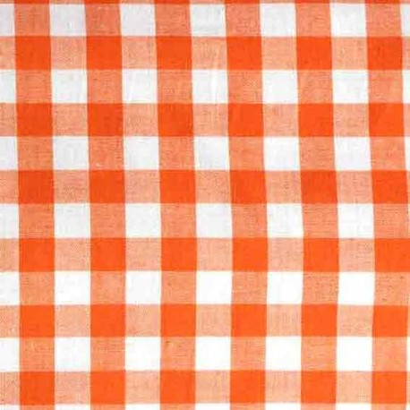 Big checked Vichy fabric - orange x 10cm