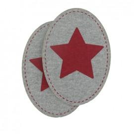 Coudière Genouillère étoile rouge / gris clair en sweat