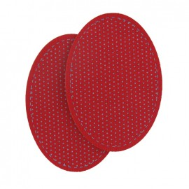 Swiss cotton elbow and knee patch with fleece grey polka dots - red