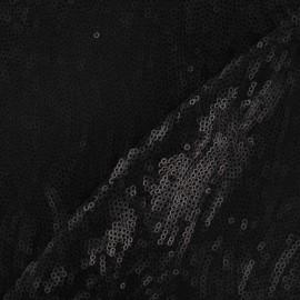Tissu paillettes disques noir x 10cm