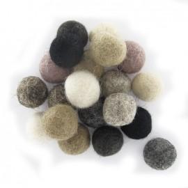 Felt-wool balls, nature mix x 20 - natural
