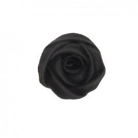 Bouton polyester fleur rose noire