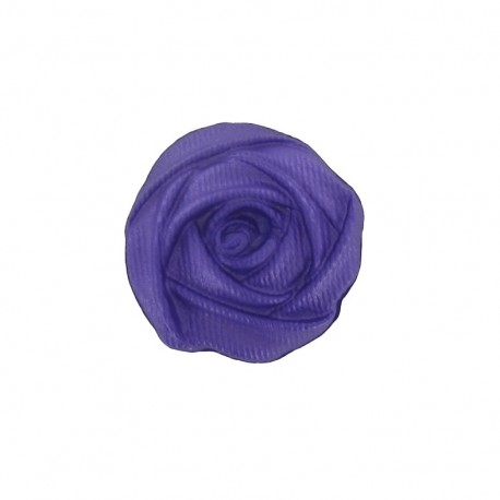 Polyester button, rose flower - purple
