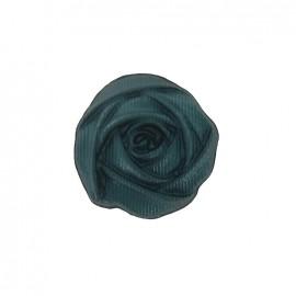 Bouton polyester fleur rose verte