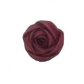Bouton polyester fleur rose bordeaux