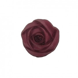 Polyester button, rose flower - dark red