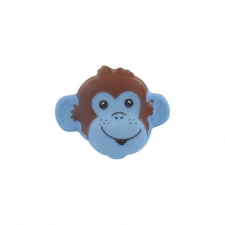 Button, monkey head - sky blue