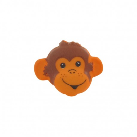 Button, monkey head - orange