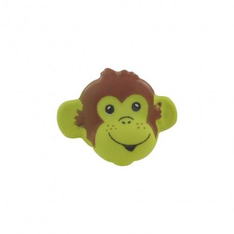 Button, monkey head - lime
