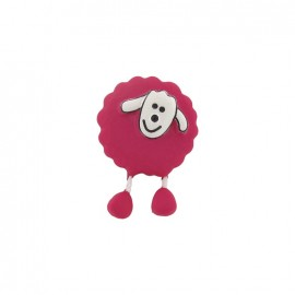 Button, sheep - fuchsia