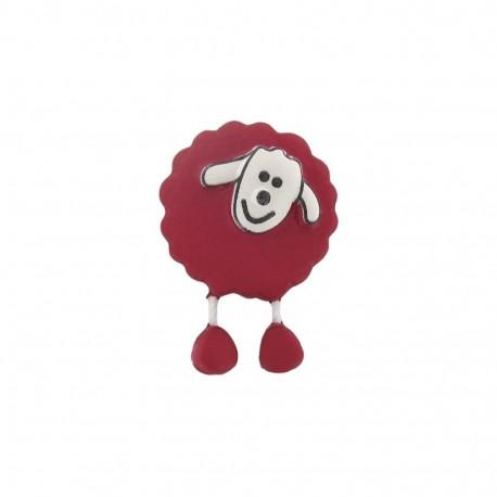 Button, sheep - crimson red
