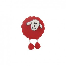 Button, sheep - red