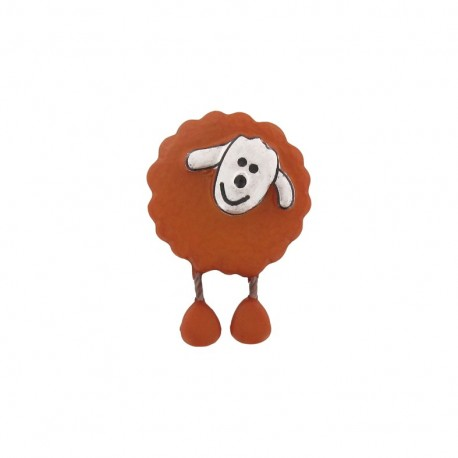 Button, sheep - rust-colored