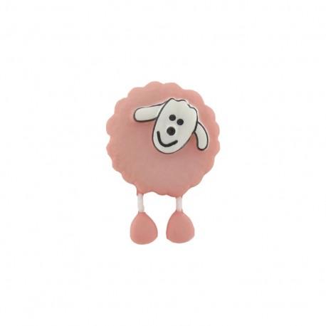 Button, sheep - pale pink