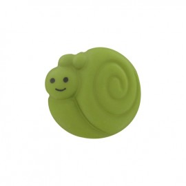 Button, smiling snail - lime