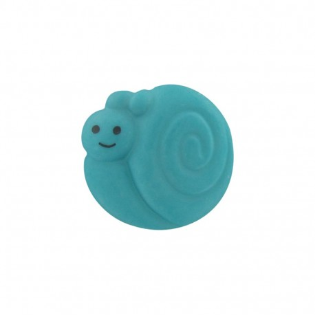 Button, smiling snail - turquoise