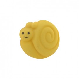Button, smiling snail - yellow