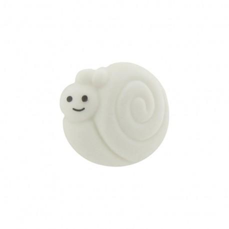 Button, smiling snail - white