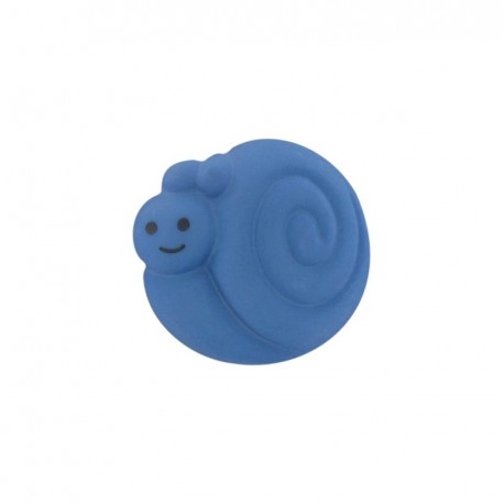 Button, smiling snail - blue