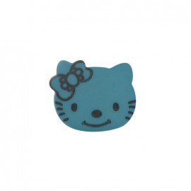Bouton Hello Kitty bleu paon