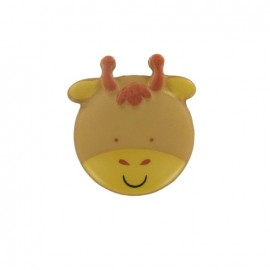 Polyester button, sweet animals, giraffe - yellow