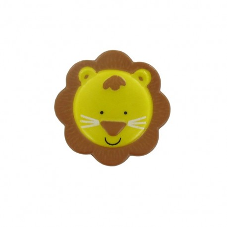 Polyester button, sweet animals, lion - yellow/brown