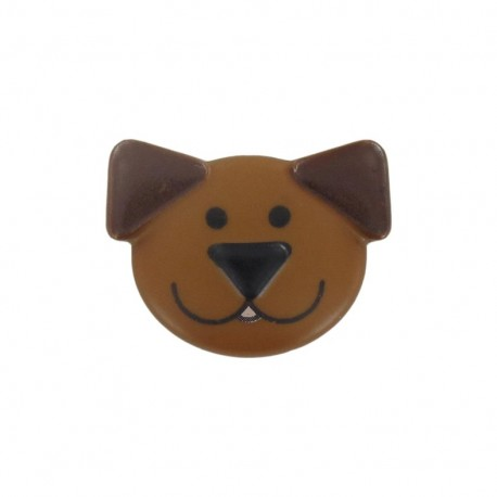 Polyester button, sweet animals, dog - brown