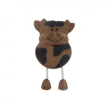 Button, cow - brown