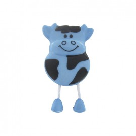 Button, cow - light blue