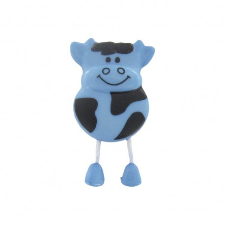Button, cow - light blue