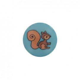 Button, Squirrel - turquoise