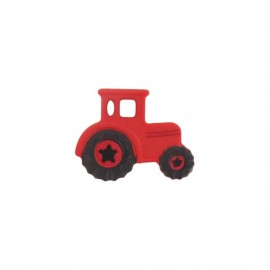 Polyester button, tractor - red