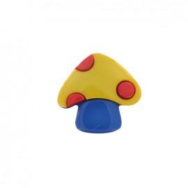Bouton Champignon jaune / bleu
