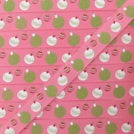 Ribbon, Christmas baubles - Pink