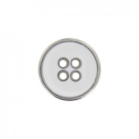 Metal button, enamelled - white