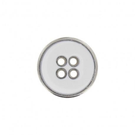 Bouton métal émaillé blanc
