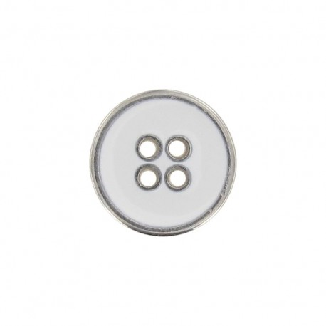 Metal button, enamelled - white