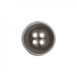 Metal button, enamelled - brown