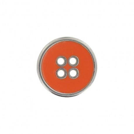 Bouton métal émaillé orange