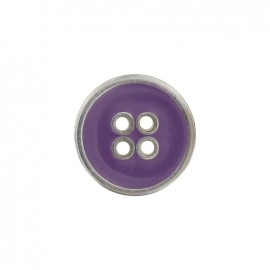 Metal button, enamelled - purple